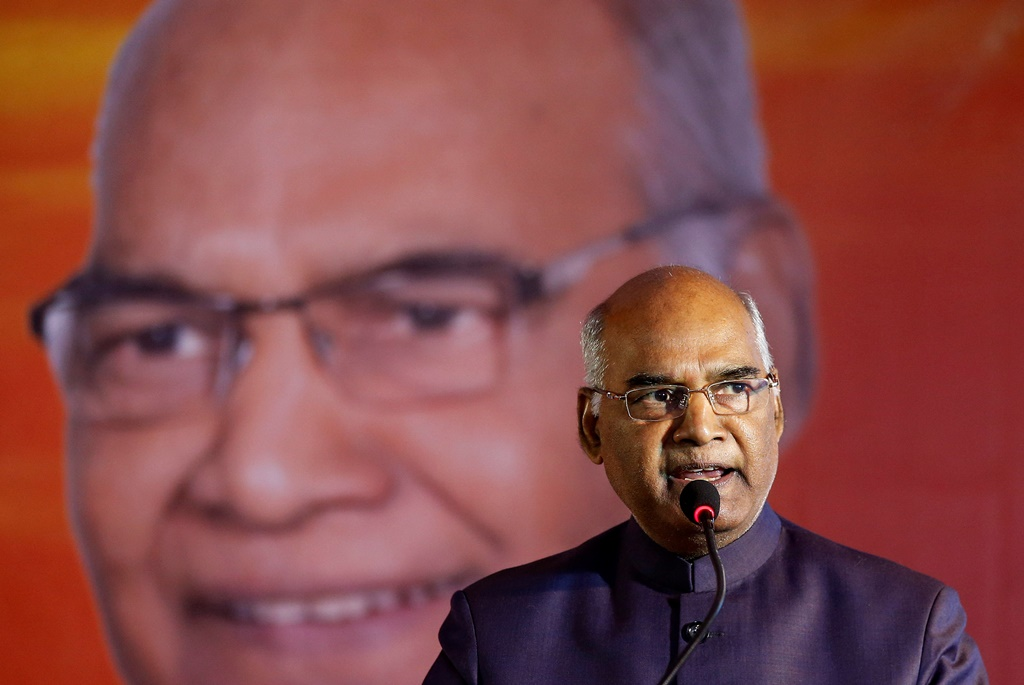 Ram Nath Kovind, nominated presidential candidate of India's ruling Bharatiya Janata Party (BJP), delivers a speech during a welcoming ceremony as part of his nation-wide tour, in Ahmedabad, India, July 15, 2017. REUTERS/Amit Dave - RTX3BL0Y