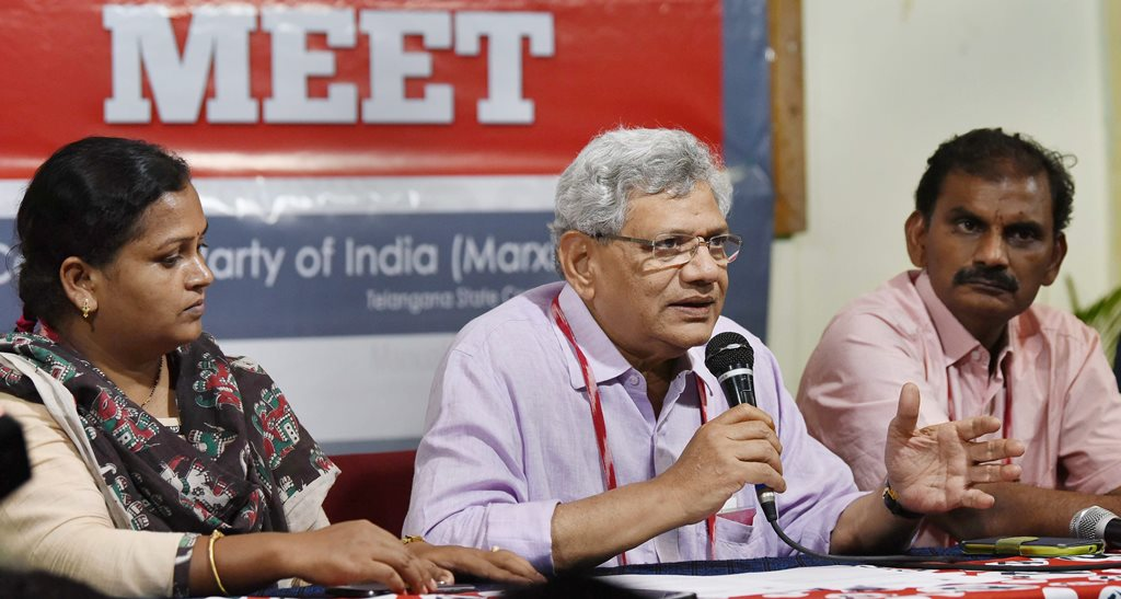 Hyderabad: CPI(M) General Secretary Sitaram Yechury addresses the media persons as part of the 22nd Party National Congress in Hyderabad on Thursday. PTI Photo (PTI4_19_2018_000134B)