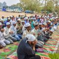 Gurugram: People offer namaz under police presence (unseen), after the recent disruptions by Hindu activists organisations, in Gurugram on Friday.( PTI Photo )(PTI5_11_2018_000120B)