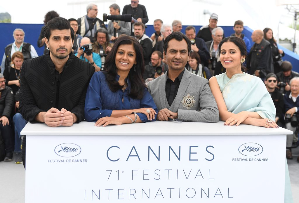 CANNES: Actor Tahir Raj Bhasin, from left, director Nandita Das, actor Nawazuddin Siddiqui and Rasika Dugal pose for photographers during a photo call for the film 'Manto' at the 71st international film festival, Cannes, southern France, Monday, May 14, 2018. AP/PTI(AP5_14_2018_000118B)