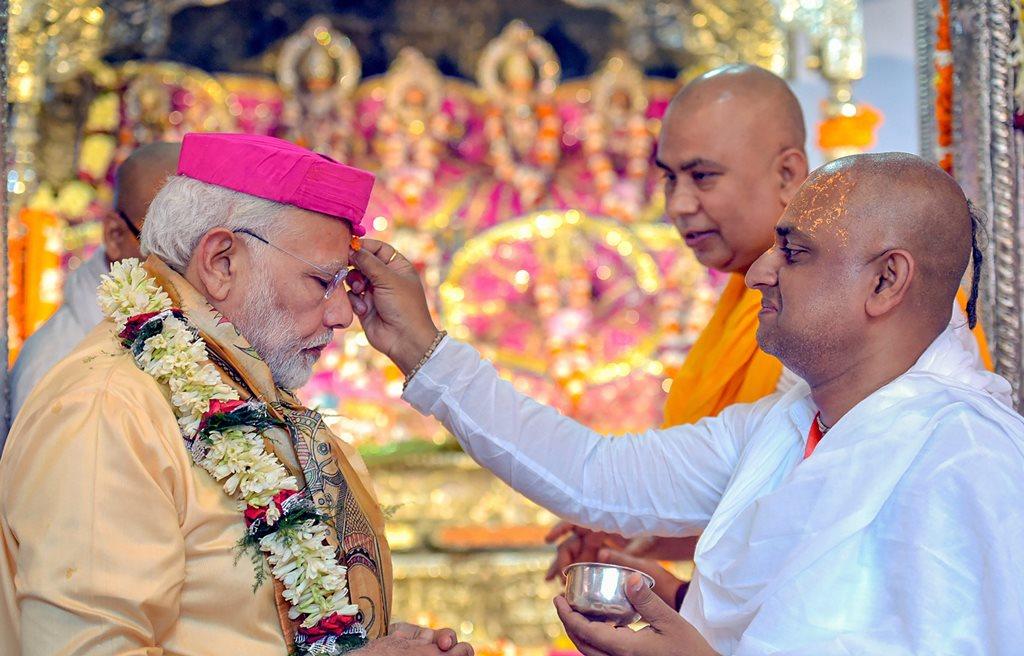 Janakpur, Nepal: Prime Minister Narendra Modi at Janaki Mandir in Janakpur on Friday. (PTI Photo / PIB) (PTI5_11_2018_000172B)
