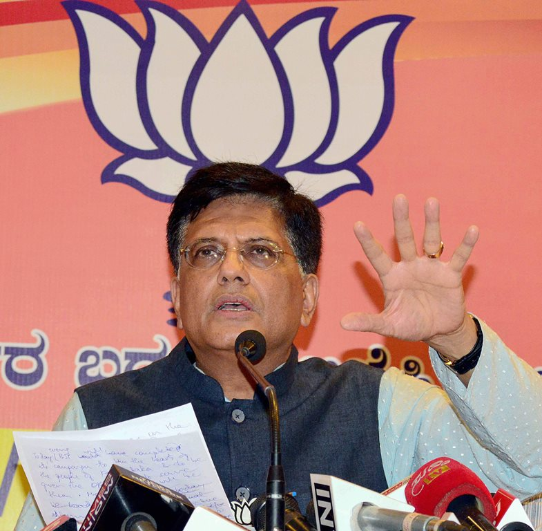 Bengaluru: Union Minister Piyush Goyal addresses a press conference in Bengaluru on Thursday, ahead of Assembly polls. PTI Photo (PTI5_10_2018_000101B)