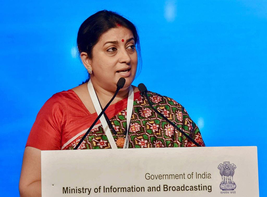 New Delhi: I&B Minister Smriti Irani delivers the inaugural address at the 15th Asia Media Summit, in New Delhi on Thursday. PTI Photo/PIB (PTI5_10_2018_000102B)