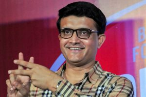 Kolkata: Former Indian cricket captain Sourav Ganguly during a promotional event for Complan 'Kom Protein Cholbe Na' (Say No To Less Protein) movement, in Kolkata on Thursday. PTI Photo (PTI5_10_2018_000205B)