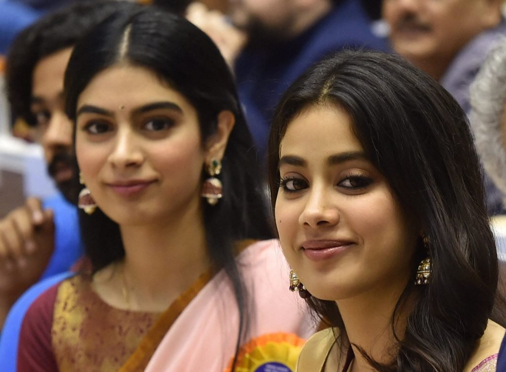 New Delhi: Actress Sridevi's daughters Janhvi and Khushi (L) during the 65th National Film Awards function at Vigyan Bhavan in New Delhi on Thursday. Sridevi was conferred Best Actress Award posthumously. PTI Photo by Manvender Vashist (PTI5_3_2018_000257B)