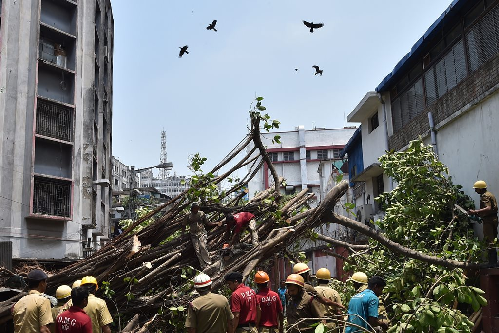 Kolkata: Fire department and Disaster Management Group (DMG) personnel work to clear the street, blocked by a tree which got uprooted in the recent massive storm, behind the Police Headquarters at Lalbazar in Kolkata on Thursday. PTI Photo by Swapan Mahapatra (PTI5_3_2018_000043B)