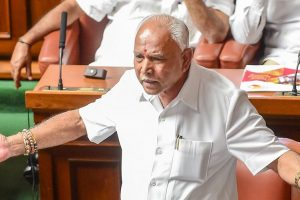 Bengaluru: Outgoing Karnataka Chief Minister BS Yediyurappa addresses the house members before a floor test, at Vidhanasoudha, in Bengaluru, on Saturday. (PTI Photo/Shailendra Bhojak) (PTI5_19_2018_000136B)