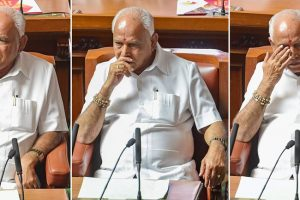 Bengaluru : Combo-- Moods of Karnataka Chief Minister B S Yediyurappa before a floor test at Vidhanasoudha in Bengaluru on Saturday.(PTI Photo/Shailendra Bhojak)(PTI5_19_2018_000153B)