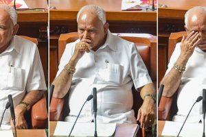 Bengaluru : Combo-- Moods of Karnataka Chief Minister B S Yediyurappa before a floor test at Vidhanasoudha in Bengaluru on Saturday.(PTI Photo/Shailendra Bhojak)(PTI5_19_2018_000153B)