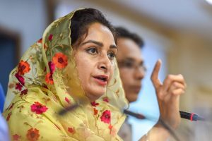 New Delhi: Union Minister for Food Processing Industries Harsimrat Kaur Badal addresses a press conference on the achievements of her ministry in the past four years, in New Delhi on Monday, June 4, 2018. (PTI Photo/Atul Yadav) (PTI6_4_2018_000100B)