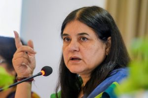 New Delhi: Union Minister for Women & Child Development Maneka Gandhi addresses a press conference regarding her ministry's achievements and initiatives, in New Delhi on Wednesday, June 06, 2018. (PTI Photo/Vijay Verma) (PTI6_6_2018_000064B)