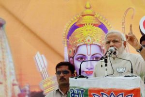 Faizabad : BJP Prime Miniserial candidate Narendra Modi addresses an election campaign rally in Faizabad on Monday. PTI Photo (PTI5_5_2014_000129B)