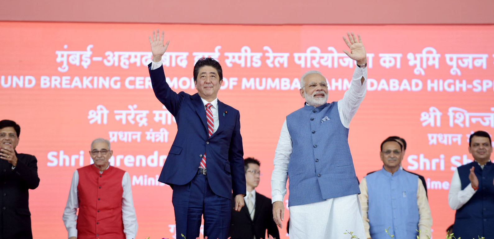 The Prime Minister, Shri Narendra Modi and the Prime Minister of Japan, Mr. Shinzo Abe at Ground Breaking ceremony of Mumbai-Ahmedabad High Speed Rail Project, at Ahmedabad, Gujarat on September 14, 2017. The Governor of Gujarat, Shri O.P. Kohli, the Union Minister for Railways and Coal, Shri Piyush Goyal, the Chief Minister of Gujarat, Shri Vijay Rupani and the Chief Minister of Maharashtra, Shri Devendra Fadnavis are also seen.