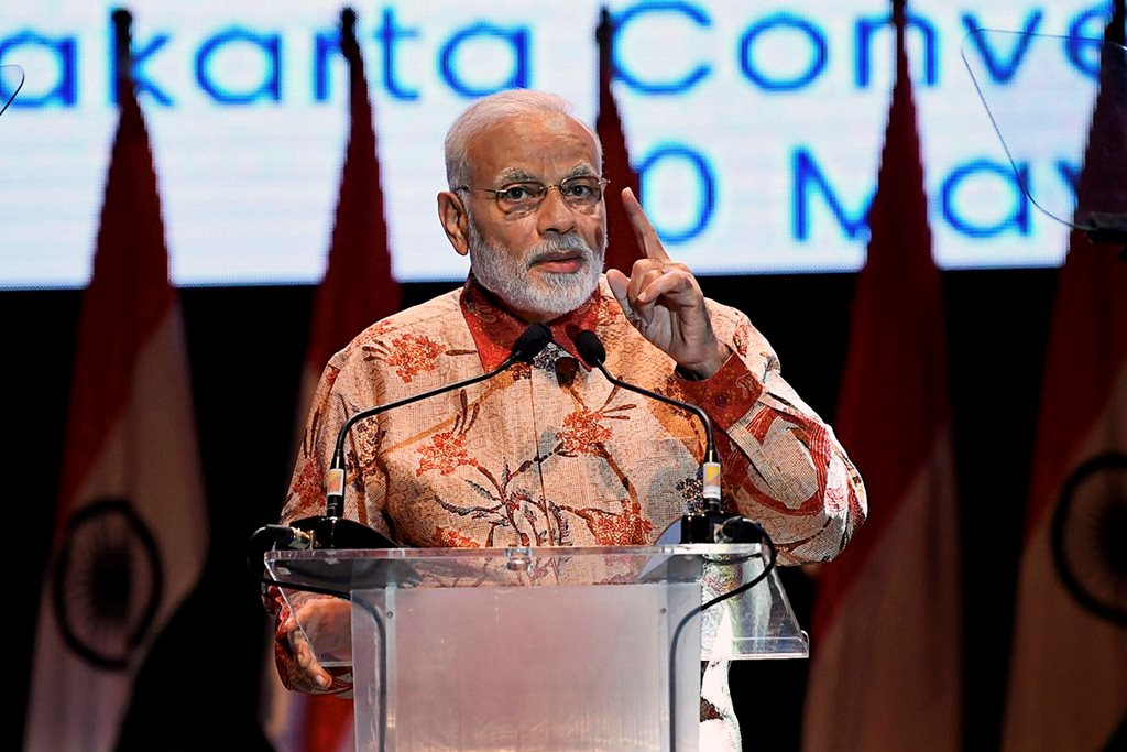 Jakarta: Prime Minister Narendra Modi addresses the Indian diaspora, in Jakarta, Indonesia on Wednesday, May 30, 2018. (PTI Photo/ PIB Twitter)(PTI5_30_2018_000140B)