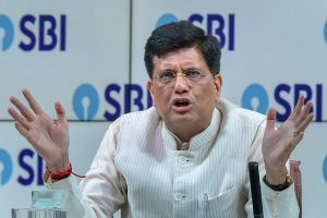 Mumbai: Union Finance Minister, Piyush Goyal addresses a press conference organised by State Bank of India, in Mumbai on Friday, June 08, 2018. (PTI Photo/Mitesh Bhuvad)(PTI6_8_2018_000154B)