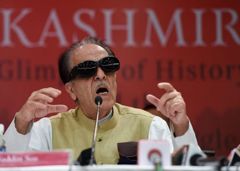 "New Delhi: Congress leader Saifuddin Soz addresses during the launch of his book ""Kashmir: Glimpses of History and the Story of Struggle"", in New Delhi on Monday, June 25, 2018. (PTI Photo/Kamal Singh) (PTI6_25_2018_000223B)"