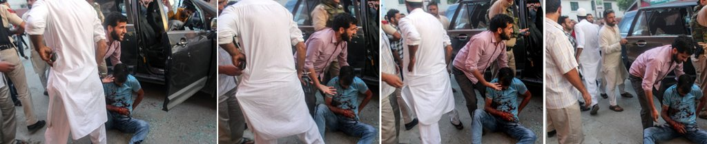 **COMBO PHOTO** Srinagar: Pictures released by police on June 15, 2018, is seen the alleged fourth suspect involved in yesterday's terror attack on Rising Kashmir newspaper editor Shujaat Bukhari, as he apparently keeps a gun in his pocket as he moves away from the incident site, in Srinagar. (PTI Photo)(PTI6_15_2018_000184B)