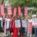 New Delhi: Members of AIMSS, AIDSO, AIDYO raise slogans during a protest demonstration over the rape of a 7-year old girl in Mandsaur (Madhya Pradesh), at Madhya Pradesh House in Chanakyapuri, New Delhi on Saturday, June 30, 2018. (PTI Photo)(PTI6_30_2018_000038B)