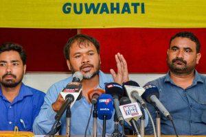 Guwahati: Krishak Mukti Sangram Samiti (KMSS) adviser Akhil Gogoi addresses a press conference regarding the National Register of Citizenship (NRC), in Guwahati on Monday, July 30, 2018. (PTI Photo) (PTI7_30_2018_000140B)
