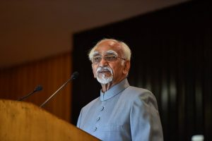 New Delhi: Former vice president Hamid Ansari speaks during the release of his book titled 'Dare I Question?', in New Delhi on Tuesday, July 17, 2018. (PTI Photo/Kamal Singh) (PTI7_17_2018_000158B)