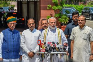 New Delhi: Prime Minister Narendra Modi addresses the media ahead of Parliament's monsoon session, in New Delhi on Wednesday, July 18, 2018. Parliamentary Affairs Minister Ananth Kumar, Union Minister for Development of North Eastern Region (DoNER) Jitendra Singh and Union MoS for Parliamentary Affairs Vijay Goel are also seen. (PTI Photo/ Kamal Singh)(PTI7_18_2018_000019B)