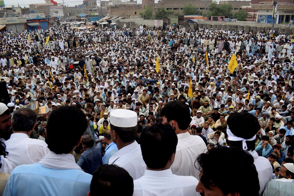 Bannu: Supporters of Pakistani independent political candidate who lost his seat, gathered to protest against Pakistan Election Commission demanding recounting of votes, in Bannu, Pakistan, Friday, July 27, 2018. A group that monitors elections has urged Pakistan's elections oversight body to address concerns of the country's political parties. AP/PTI(AP7_27_2018_000146B)