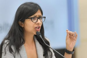 New Delhi: Delhi Commission for Women (DCW) Chairperson Swati Maliwal addresses a press conference regarding the initiatives taken by the commission in the past three years, in New Delhi on Tuesday, July 24, 2018. (PTI Photo/Vijay Verma) (PTI7_24_2018_000064B)