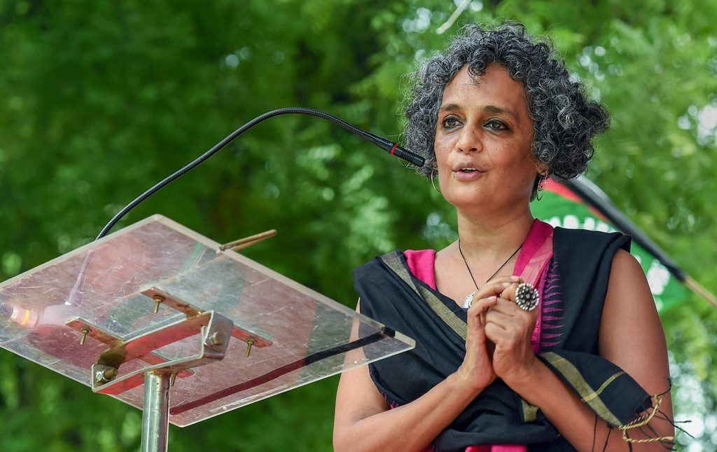 New Delhi: Author and activist Arundhati Roy addresses a protest organised by the activists of Campaign against State Repression on Rights over various issues, at Jantar Mantar in New Delhi on Friday, Aug 3, 2018. (PTI Photo/Atul Yadav) (PTI8_3_2018_000071B)