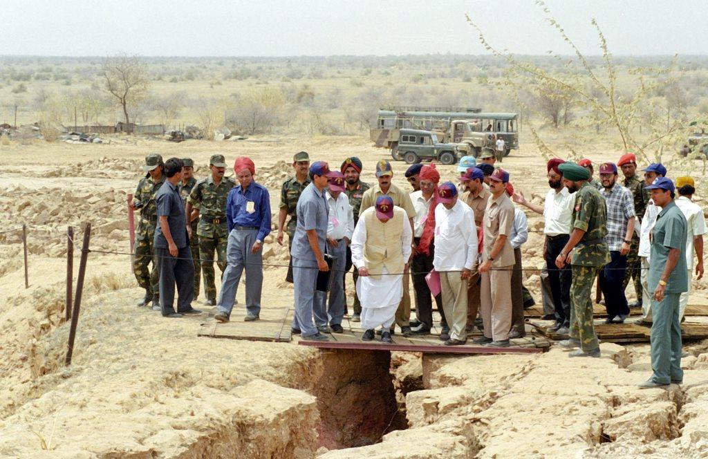 **FILE** New Delhi: In this May 20, 1998, file photo former prime minister Atal Bihari Vajpayee visits the nuclear test site in Pokhran. Vajpayee, 93, passed away on Thursday, Aug 16, 2018, at the All India Institute of Medical Sciences, New Delhi after a prolonged illness. (PTI Photo) (PTI8_16_2018_000151B)