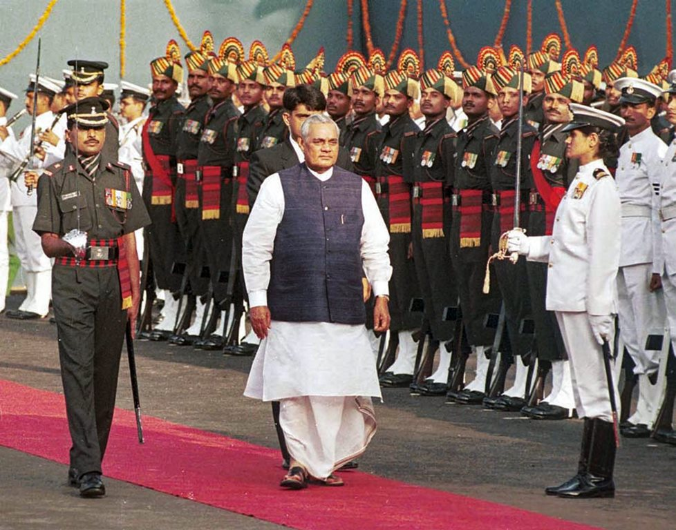 **FILE** New Delhi: In this Aug 15, 1999, file photo former prime minister Atal Bihari Vajpayee inspects the guard of honour during the Independence Day function at the Red Fort in New Delhi. Vajpayee, 93, passed away on Thursday, Aug 16, 2018, at the All India Institute of Medical Sciences, New Delhi after a prolonged illness. (PTI Photo) (PTI8_16_2018_000174B)