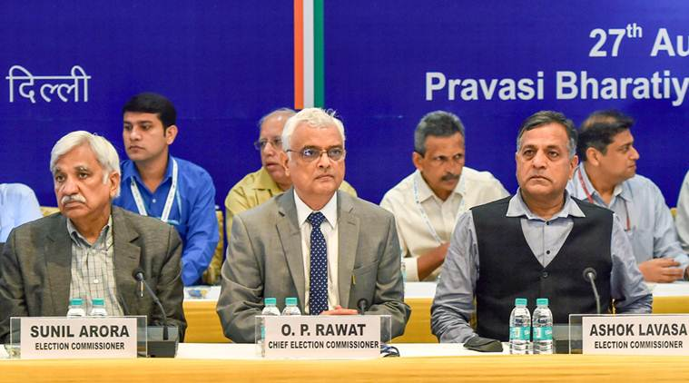 New Delhi: Chief Election Commissioner O P Rawat during a meeting of all National & State recognized Political Parties to discuss issues related to Electoral Process, in New Delhi on Monday,Aug 27,2018. Election Commissioners Sunil Arora and Ashok Lavasa are also seen. (PTI Photo/Manvender Vashist)(PTI8_27_2018_000022A)