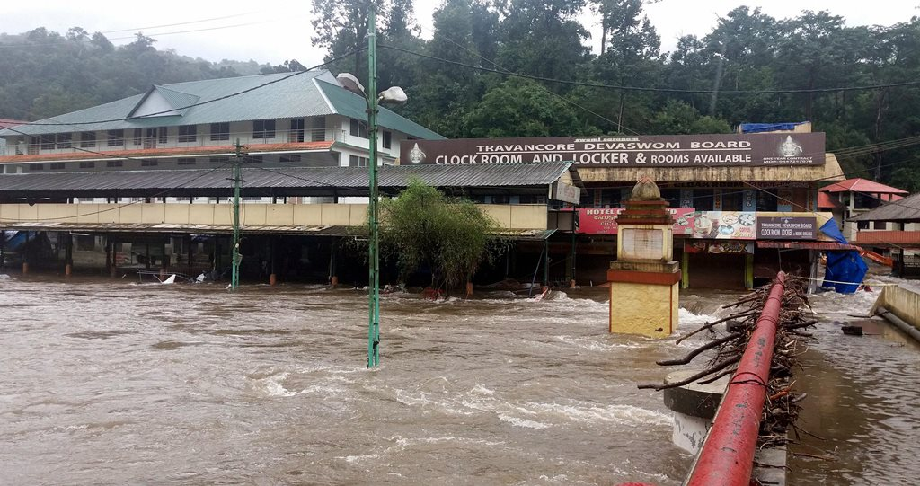 Pathanamthitta: The Pampa Manalpuram on the foothills of Sabarimala has been once again flooded in Pathanamthitta, on Tuesday 14th Aug 2018. (PTI Photo)(PTI8_14_2018_000251B)