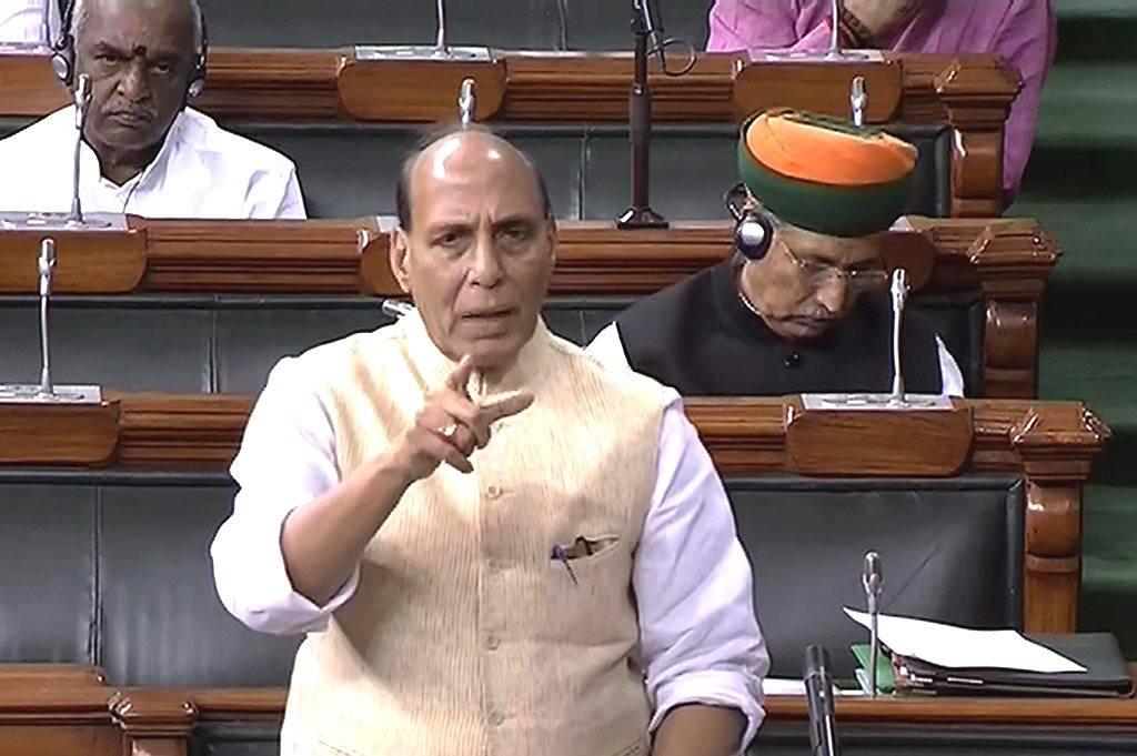 New Delhi: Union Home Minister Rajnath Singh speaks in the Lok Sabha during the Monsoon session of Parliament, in New Delhi on Tuesday, Aug 07, 2018. (LSTV Grab via PTI) (PTI8_7_2018_000065B)