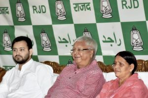 Patna: RJD Chief Lalu Prasad Yadav with senior leader and wife Rabri Devi and Bihar Deputy Chief Minister Tejaswi Yadav at Legislative party meeting in Patna on Monday. PTI photo(PTI7_10_2017_000021B)