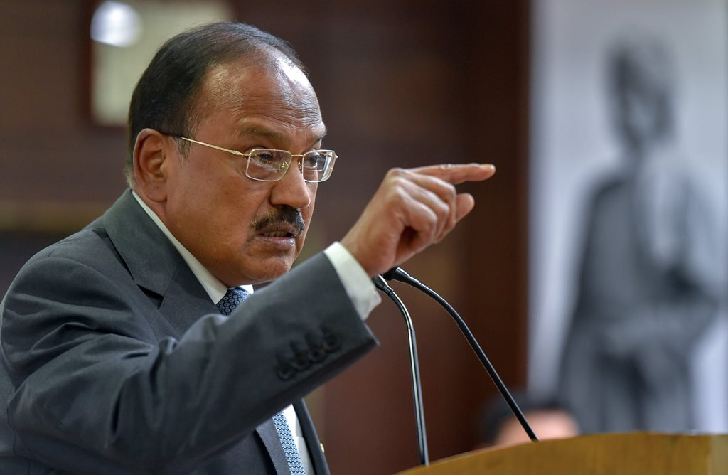 New Delhi: National Security Adviser (NSA) Ajit Doval gestures as he addresses at a book release function on 'Sardar Patel', in New Delhi on Tuesday, Sept4, 2018. (PTI Photo/Kamal Kishore) (PTI9_4_2018_000122B)
