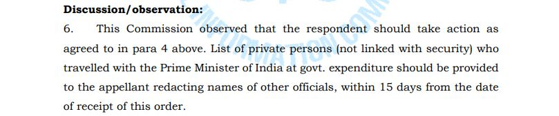 CIC order on PM foreign visit