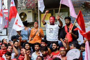 New Delhi: Members of Left Unity celebrate after their sucess in Jawaharlal Nehru University Student Union (JNUSU) elections, in New Delhi, Sunday, Sept 16, 2018. (PTI Photo) (PTI9_16_2018_000091B)