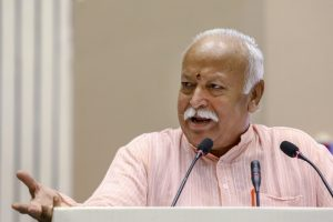 New Delhi: RSS chief Mohan Bhagwat speaks on the 2nd day at the event titled 'Future of Bharat: An RSS perspective', in New Delhi, Tuesday, Sept 18, 2018. (PTI Photo) (PTI9_18_2018_000190B)
