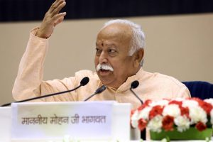 New Delhi: RSS chief Mohan Bhagwat speaks on the last day at the event titled 'Future of Bharat: An RSS perspective', in New Delhi, Wednesday, Sept 19, 2018. (PTI Photo) (PTI9_19_2018_000185B)