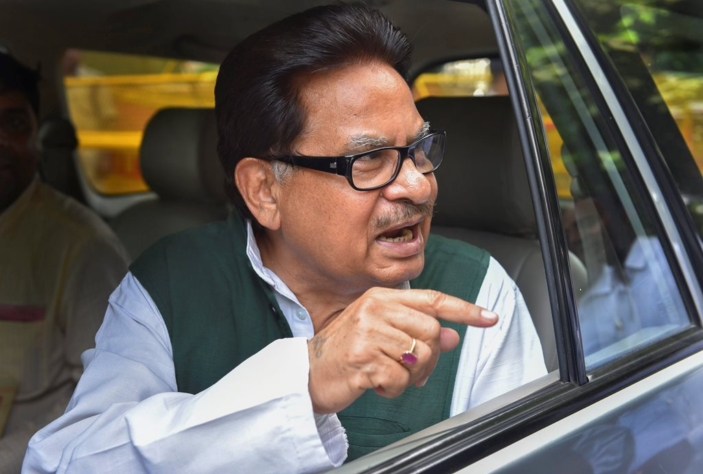New Delhi: Senior Congress leader and Rajya Sabha MP PL Punia after a press conference regarding Vijay Mallya's allegations, in New Delhi, Thursday, Sept 13, 2018. Punia said, on March 1, 2016, when he was in the Central Hall of Parliament, he had seen Jaitley and Mallya talking 'discretely'.(PTI Photo/Subhav Shukla) (PTI9_13_2018_000084B)