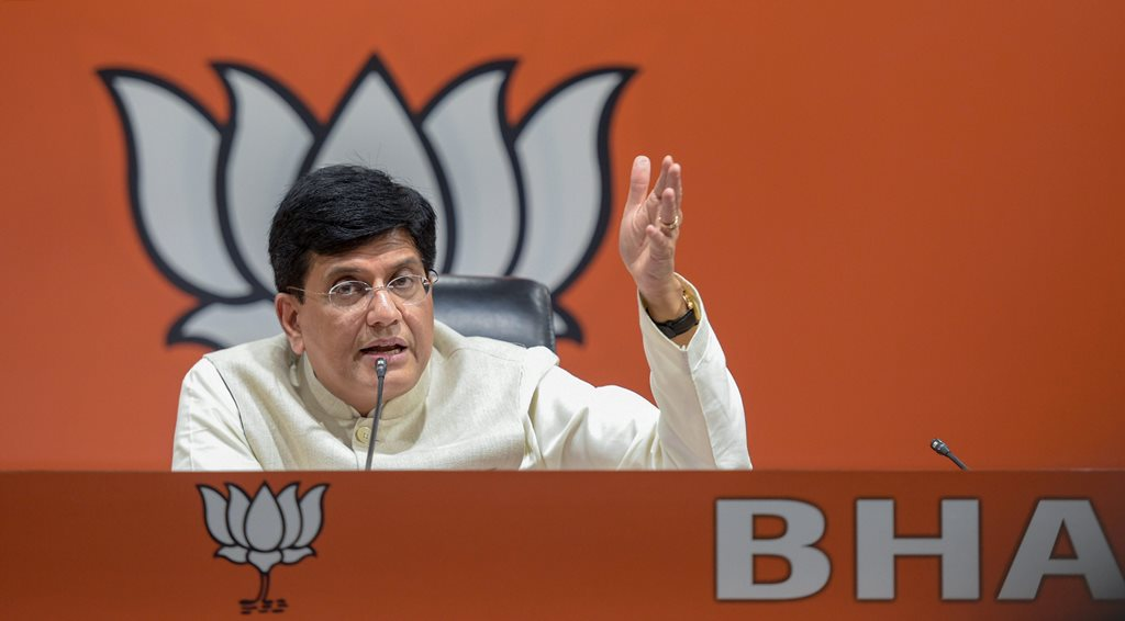 New Delhi: Union minister Piyush Goyal addresses a press conference at Bharatiya Janata Party (BJP) headquarters, in New Delhi, Thursday, Sept 13, 2018. The BJP on Thursday defended Finance Minister Arun Jaitley as Congress president Rahul Gandhi sought his resignation over his alleged meeting with Vijay Mallya, saying the fugitive businessman was a criminal and his words could not be taken seriously. (PTI Photo/Vijay Verma) (PTI9_13_2018_000150B)