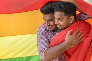 Bengaluru: LGBT community supporters celebrate after the Supreme Court verdict which decriminalises consensual gay sex, in Bengaluru, Thursday, Sept 6, 2018. A five-judge constitution bench of the Supreme Court today, unanimously decriminalised part of the 158-year-old colonial law under Section 377 of the IPC which criminalises consensual unnatural sex, saying it violated the rights to equality. (PTI Photo/Shailendra Bhojak)(PTI9_6_2018_000189B)