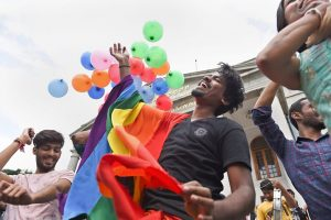 EDS PLS TAKE NOTE OF THIS PTI PICK OF THE DAY:::::::::Bengaluru: LGBT community supporters celebrate after the Supreme Court verdict which decriminalises consensual gay sex, in Bengaluru, Thursday, Sept 6, 2018. A five-judge constitution bench of the Supreme Court today, unanimously decriminalised part of the 158-year-old colonial law under Section 377 of the IPC which criminalises consensual unnatural sex, saying it violated the rights to equality. (PTI Photo/Shailendra Bhojak)(PTI9_6_2018_000187A)(PTI9_6_2018_000244B)