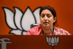 New Delhi: Union Textiles Minister Smriti Irani addresses a press conference at BJP Headquarters in New Delhi, Tuesday, Sept 11, 2018. (PTI Photo) (PTI9_11_2018_000085B)