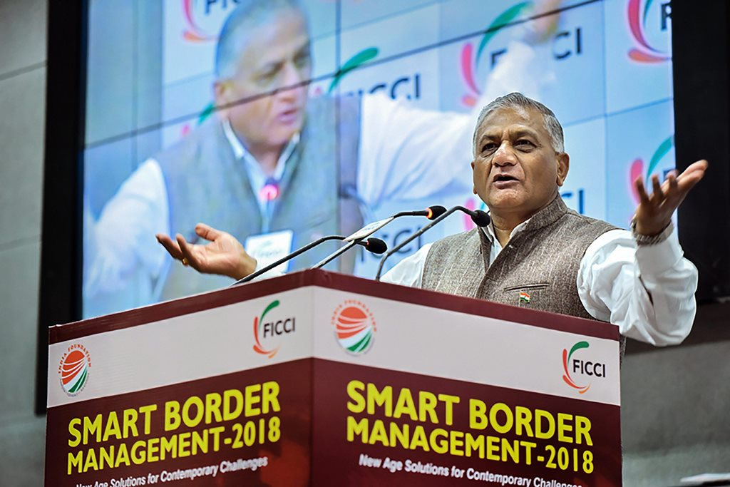 New Delhi: Minister of State for External Affairs V K Singh speaks during the FICCI's 'Smart Border Management 2018' conference at FICCI, in New Delhi, Monday, Sept 17, 2018. (PTI Photo)(PTI9_17_2018_000124B)