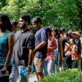 New Delhi: Jawaharlal Nehru University (JNU) students wait to place their votes during the students' union polls, in New Delhi, Friday, Sept 14, 2018. (PTI Photo/Ravi Choudhary) (PTI9_14_2018_000142B)