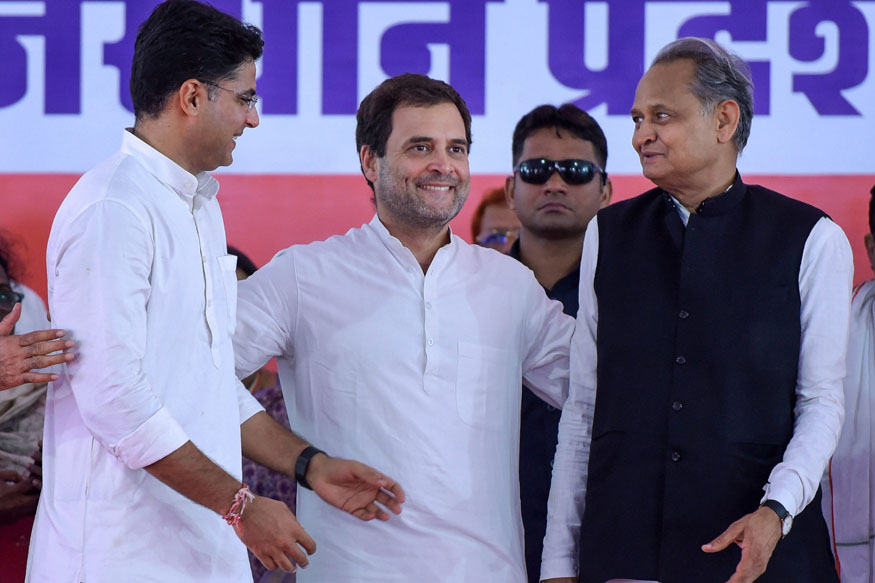 Jaipur: Congress President Rahul Gandhi with AICC General Secretary Ashok Gehlot and RPCC President Sachin Pilot during a party meeting at Ramlila Maidan in Jaipur on Saturday, Aug 11, 2018. (PTI Photo) (PTI8_11_2018_000209B)
