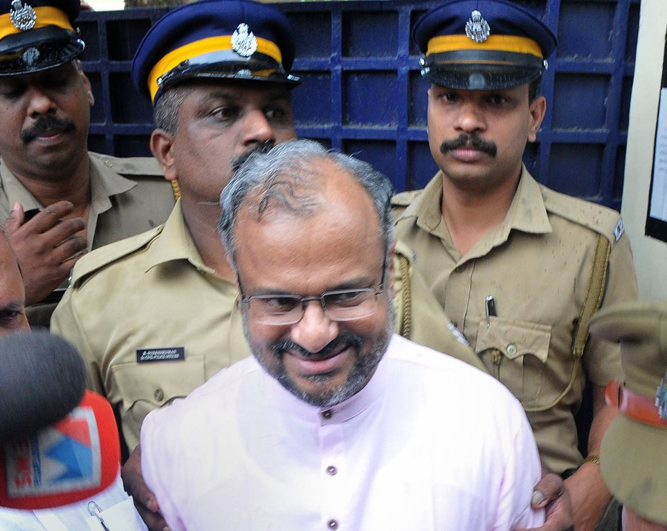Kottayam: Rape accused Roman Catholic Bishop Franco Mulakkal released on bail ,in Kottayam on Tuesday , October 16, 2018. Bishop Franco Mulakkal, arrested over three weeks ago on allegations of repeatedly raping a nun, was released from a sub-jail near here Tuesday, a day after the Kerala High Court granted him bail. (PTI10_16_2018_000158B)