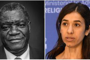 डेनिक मुकवेगे और नादिया मुराद. (फोटो साभार: ट्विटर/The Nobel Prize)