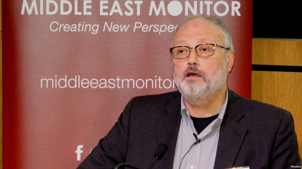 Saudi dissident Jamal Khashoggi speaks at an event hosted by Middle East Monitor in London, Sept. 29, 2018. Reuters
